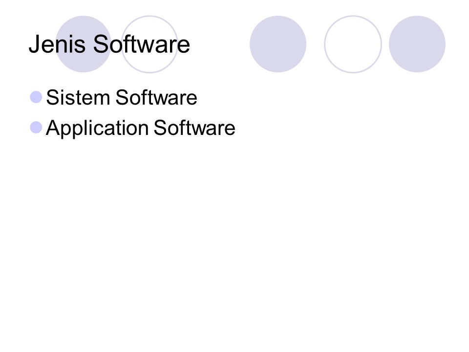 Jenis Software Sistem Software Application Software