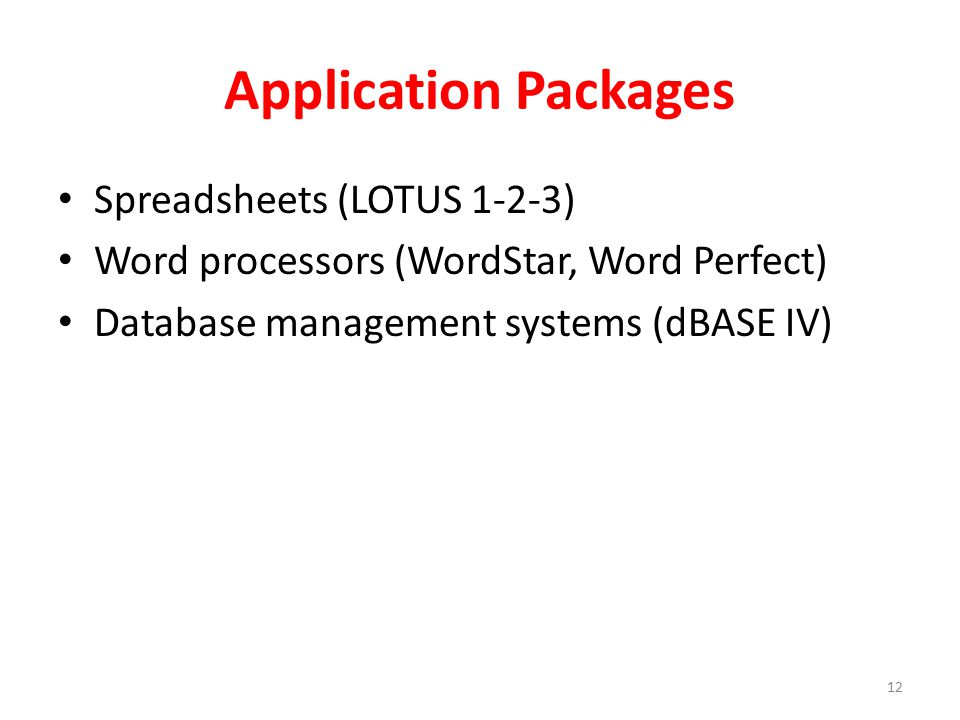 Application Packages Spreadsheets (LOTUS 1-2-3)