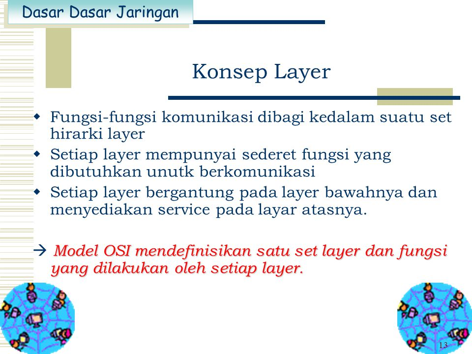 Konsep Layer Fungsi-fungsi komunikasi dibagi kedalam suatu set hirarki layer.