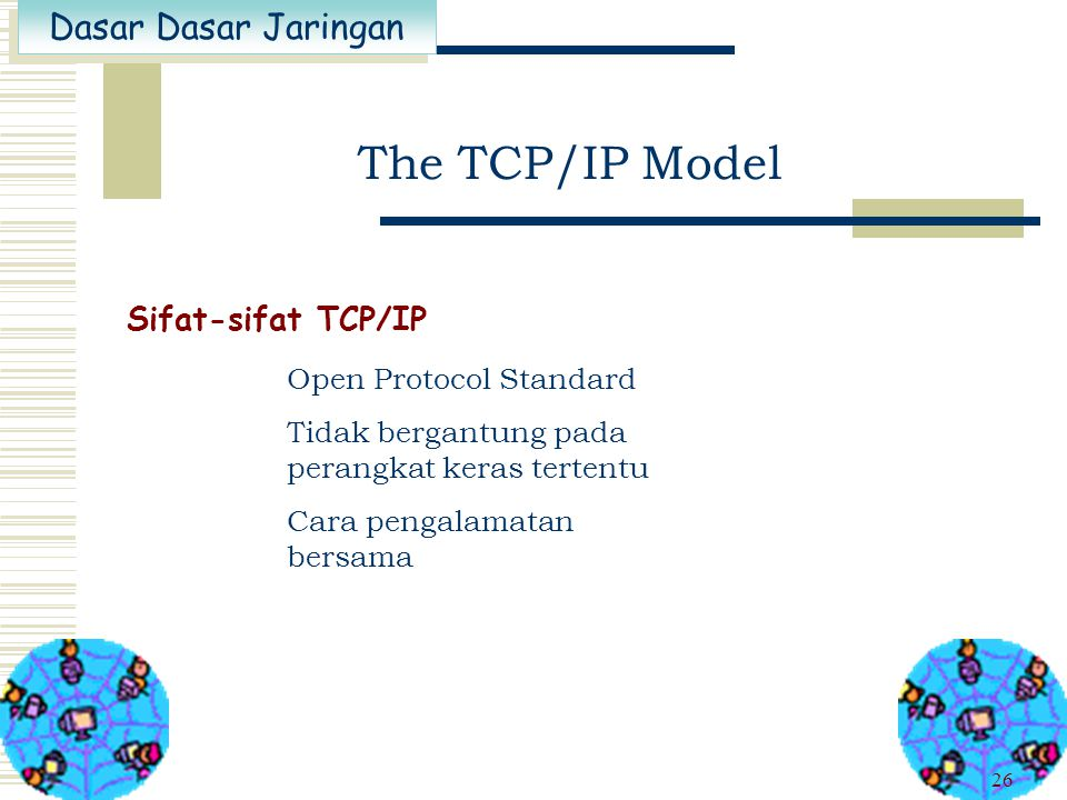 The TCP/IP Model Sifat-sifat TCP/IP Open Protocol Standard