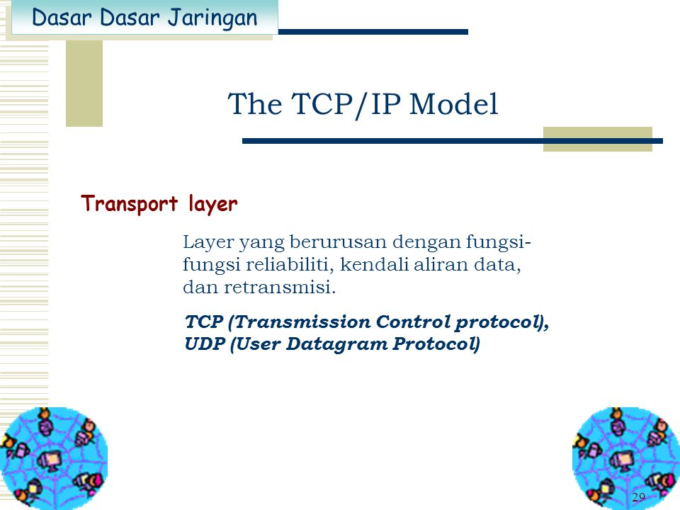 The TCP/IP Model Transport layer