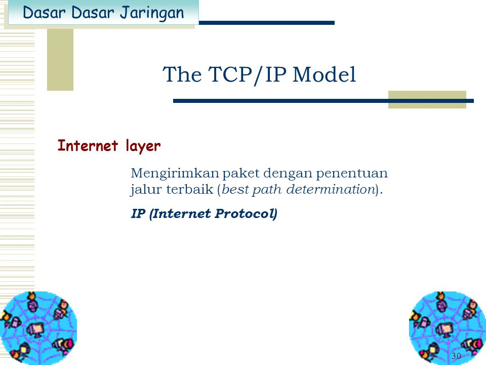 The TCP/IP Model Internet layer