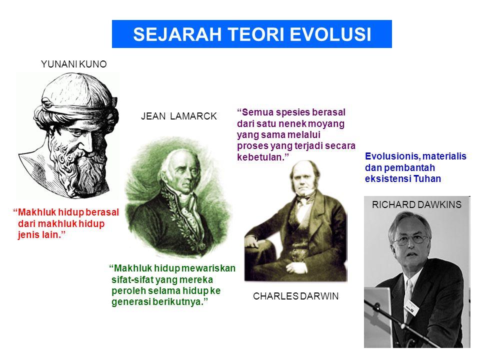 SEJARAH TEORI EVOLUSI YUNANI KUNO Semua spesies berasal JEAN LAMARCK