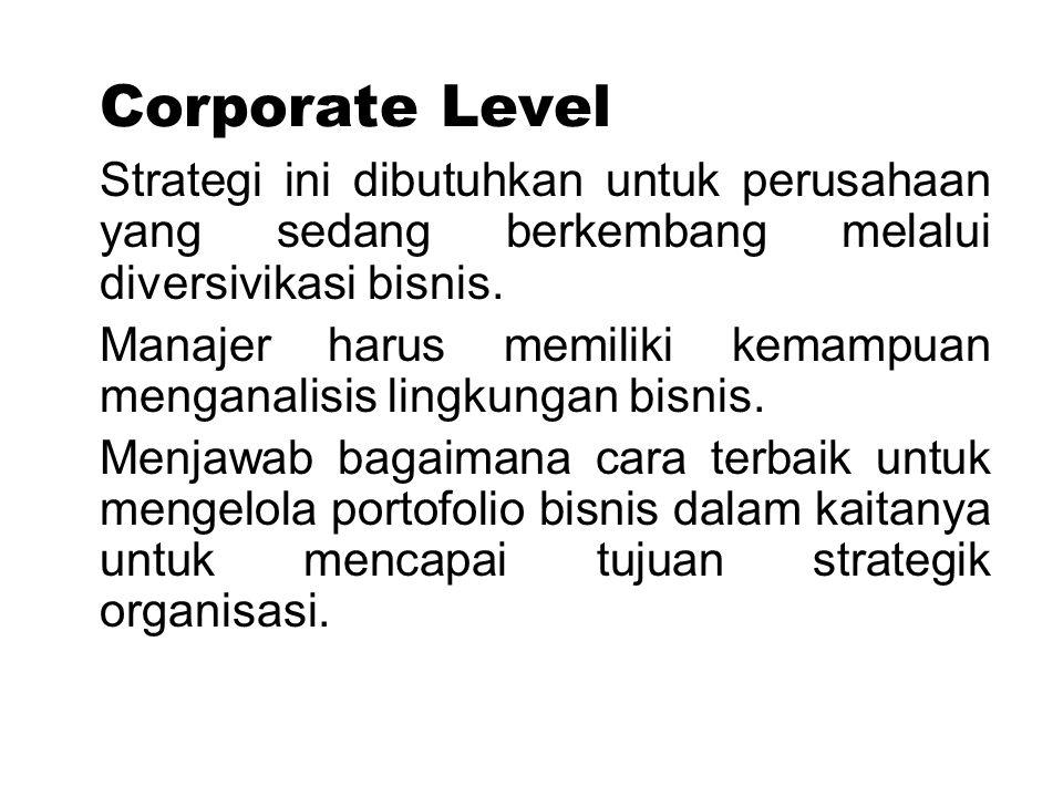 Corporate Level Strategi ini dibutuhkan untuk perusahaan yang sedang berkembang melalui diversivikasi bisnis.