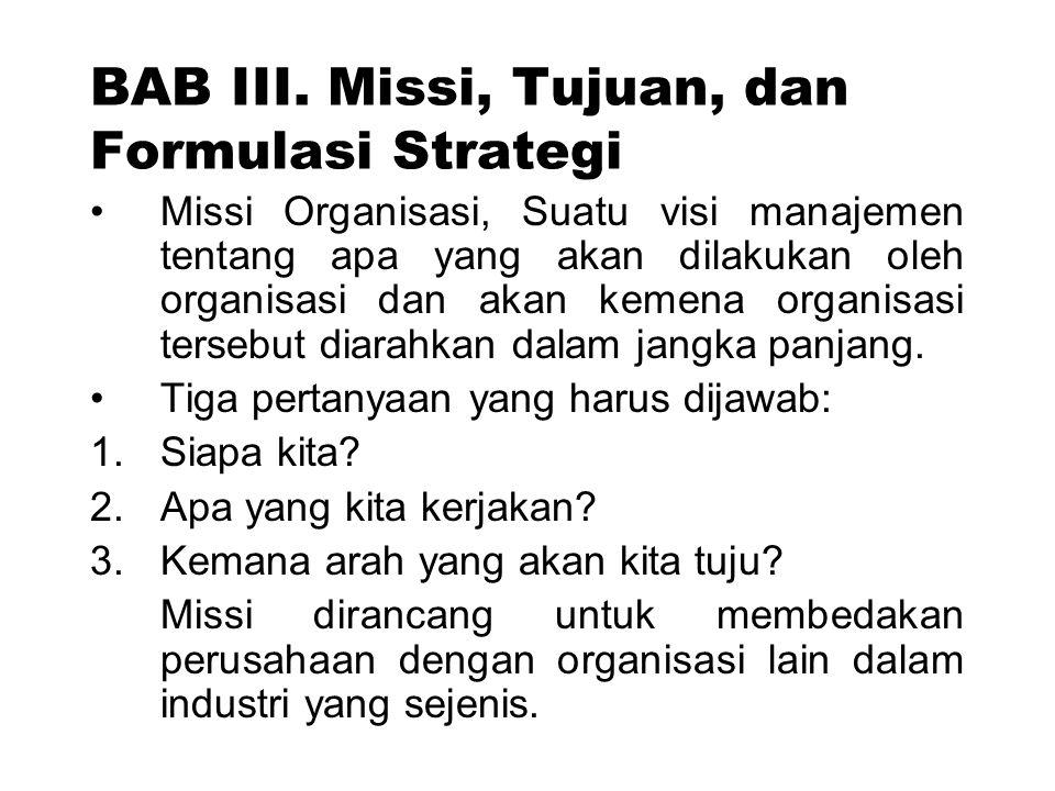 BAB III. Missi, Tujuan, dan Formulasi Strategi