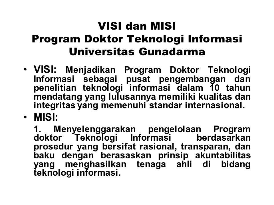 VISI dan MISI Program Doktor Teknologi Informasi Universitas Gunadarma