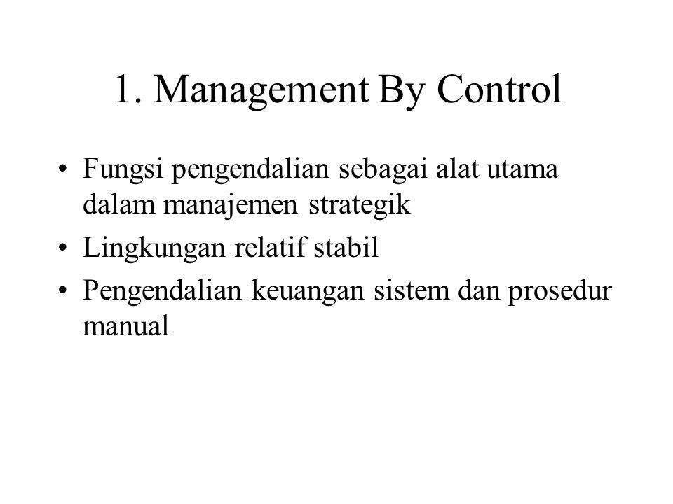 1. Management By Control Fungsi pengendalian sebagai alat utama dalam manajemen strategik. Lingkungan relatif stabil.
