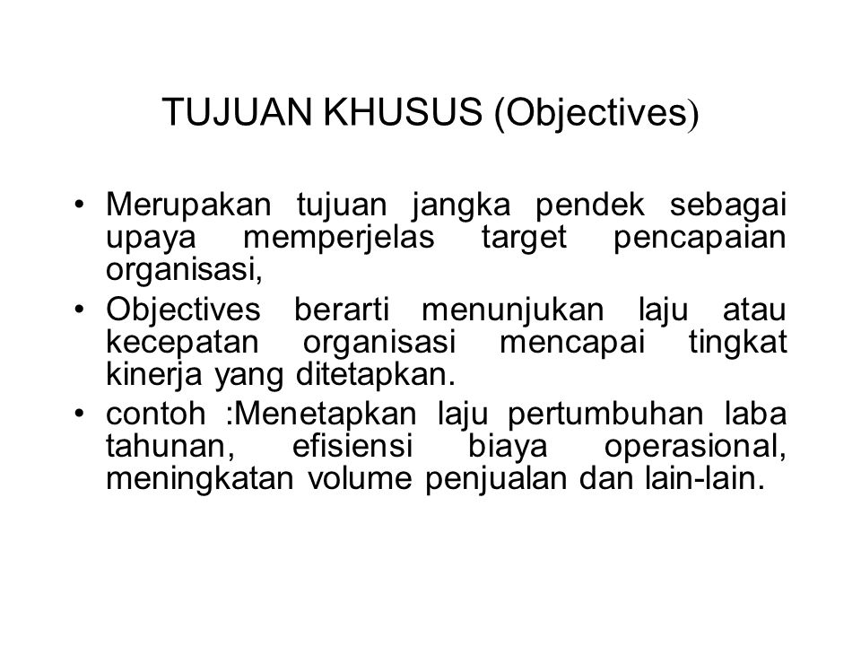 TUJUAN KHUSUS (Objectives)