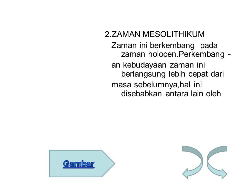 2. ZAMAN MESOLITHIKUM Zaman ini berkembang pada zaman holocen