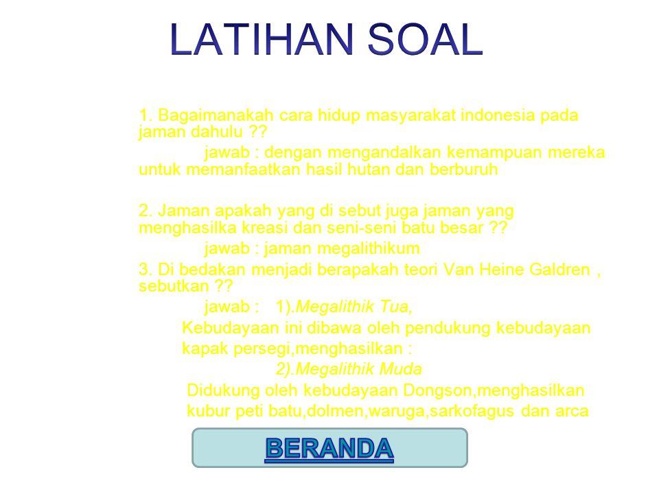 LATIHAN SOAL 1. Bagaimanakah cara hidup masyarakat indonesia pada jaman dahulu