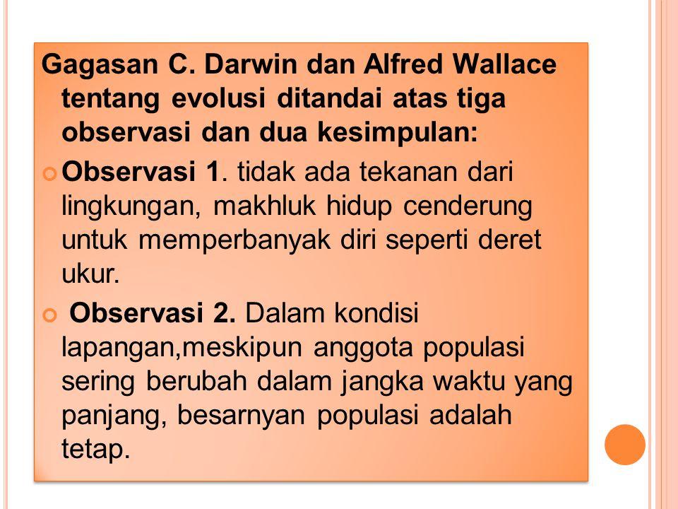 Gagasan C. Darwin dan Alfred Wallace tentang evolusi ditandai atas tiga observasi dan dua kesimpulan: