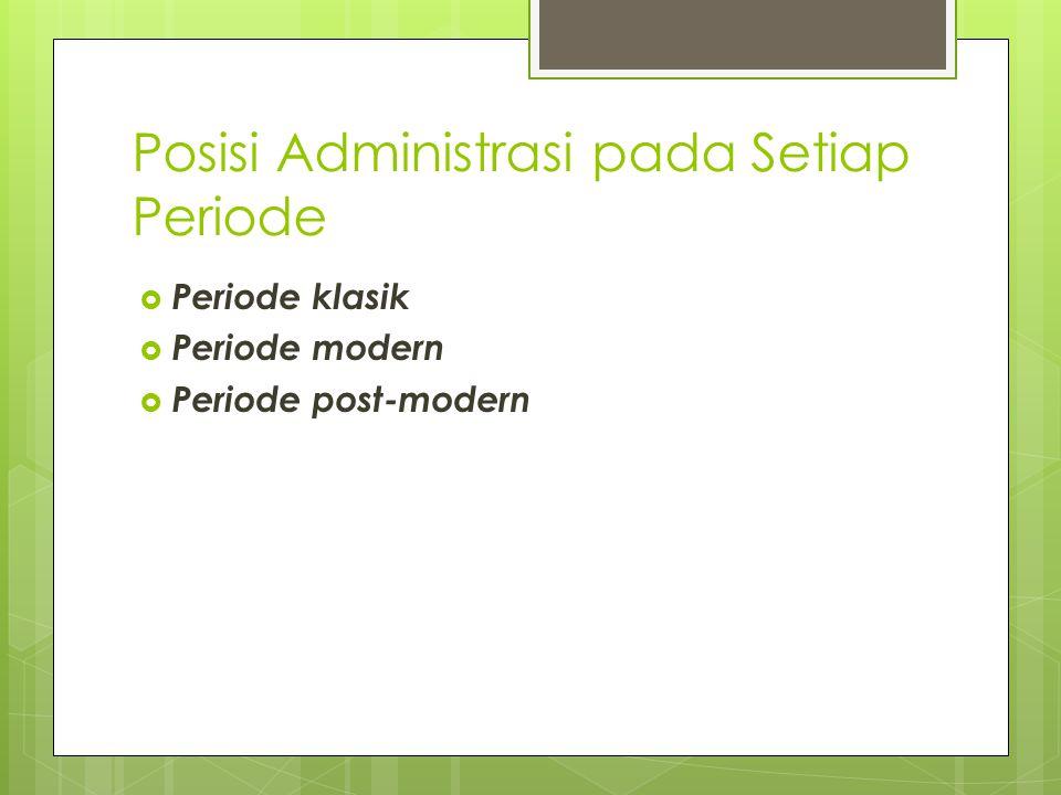 Posisi Administrasi pada Setiap Periode