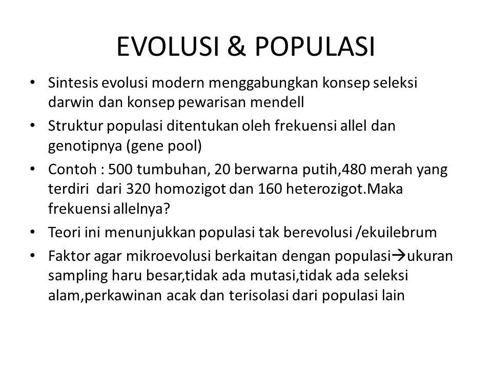 EVOLUSI & POPULASI Sintesis evolusi modern menggabungkan konsep seleksi darwin dan konsep pewarisan mendell.