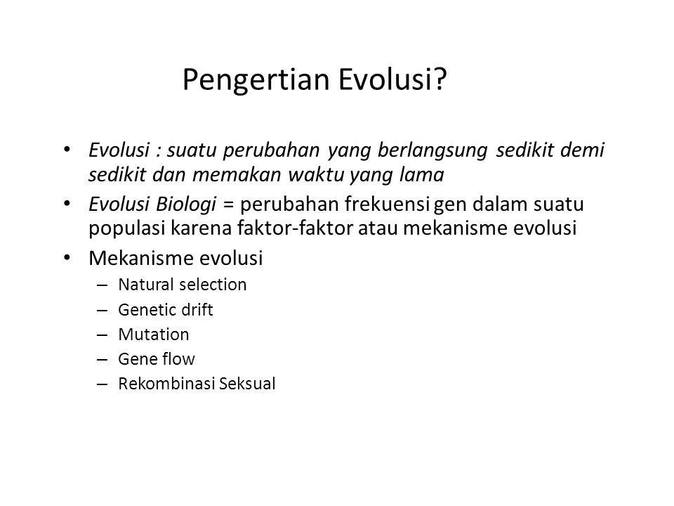 Pengertian Evolusi Evolusi : suatu perubahan yang berlangsung sedikit demi sedikit dan memakan waktu yang lama.