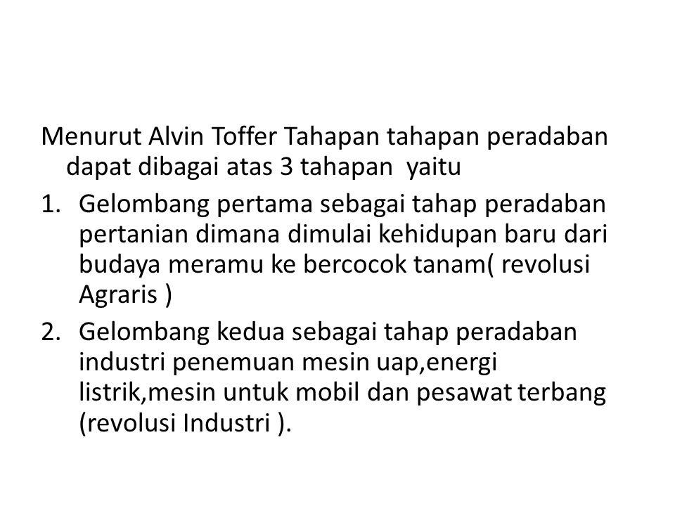 Menurut Alvin Toffer Tahapan tahapan peradaban dapat dibagai atas 3 tahapan yaitu