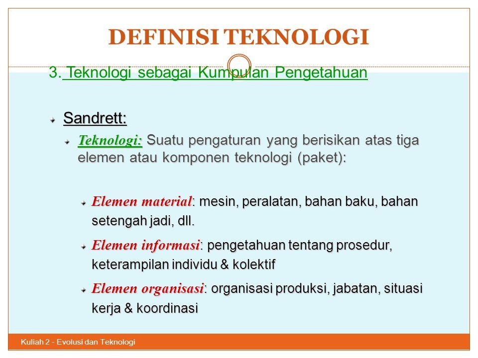 DEFINISI TEKNOLOGI 3. Teknologi sebagai Kumpulan Pengetahuan Sandrett: