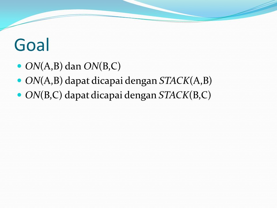 Goal ON(A,B) dan ON(B,C) ON(A,B) dapat dicapai dengan STACK(A,B)