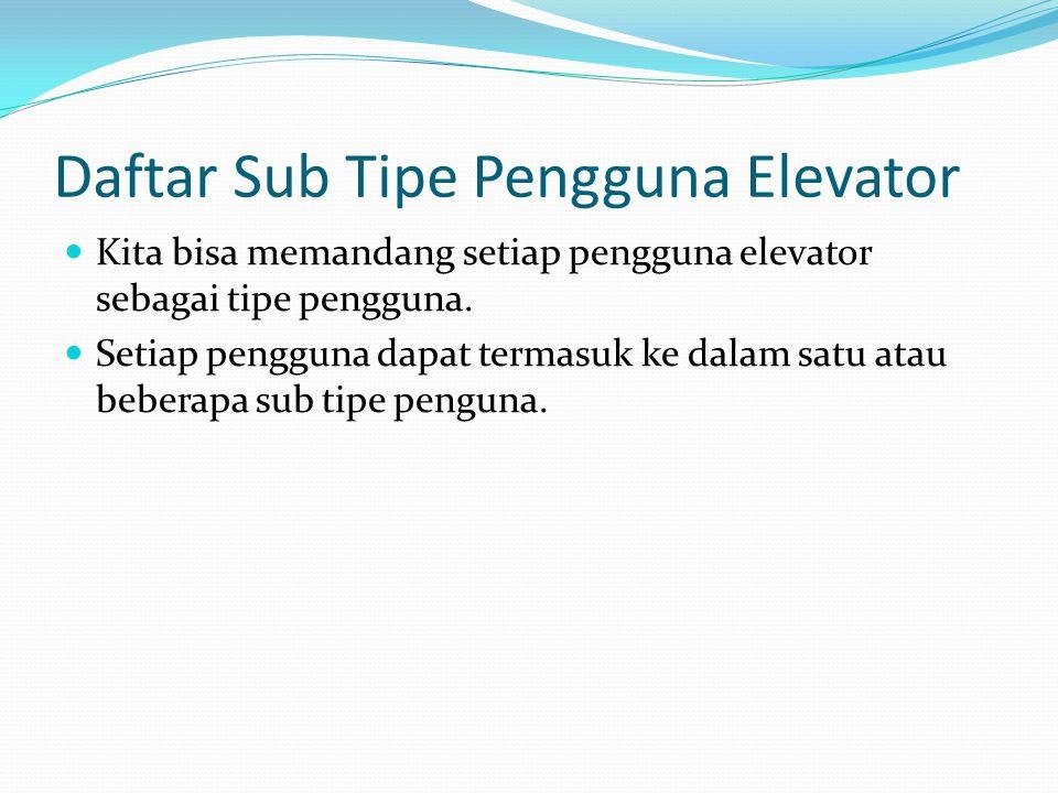 Daftar Sub Tipe Pengguna Elevator