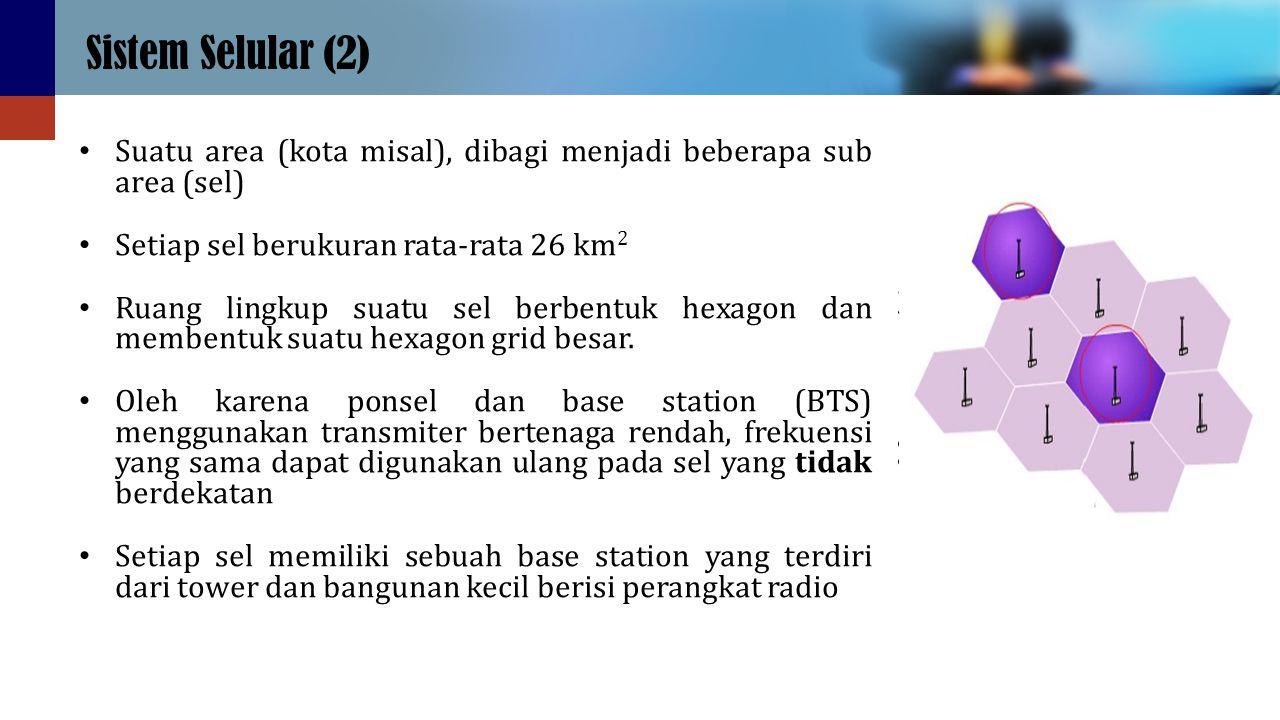 Sistem Selular (2) Suatu area (kota misal), dibagi menjadi beberapa sub area (sel) Setiap sel berukuran rata-rata 26 km2.