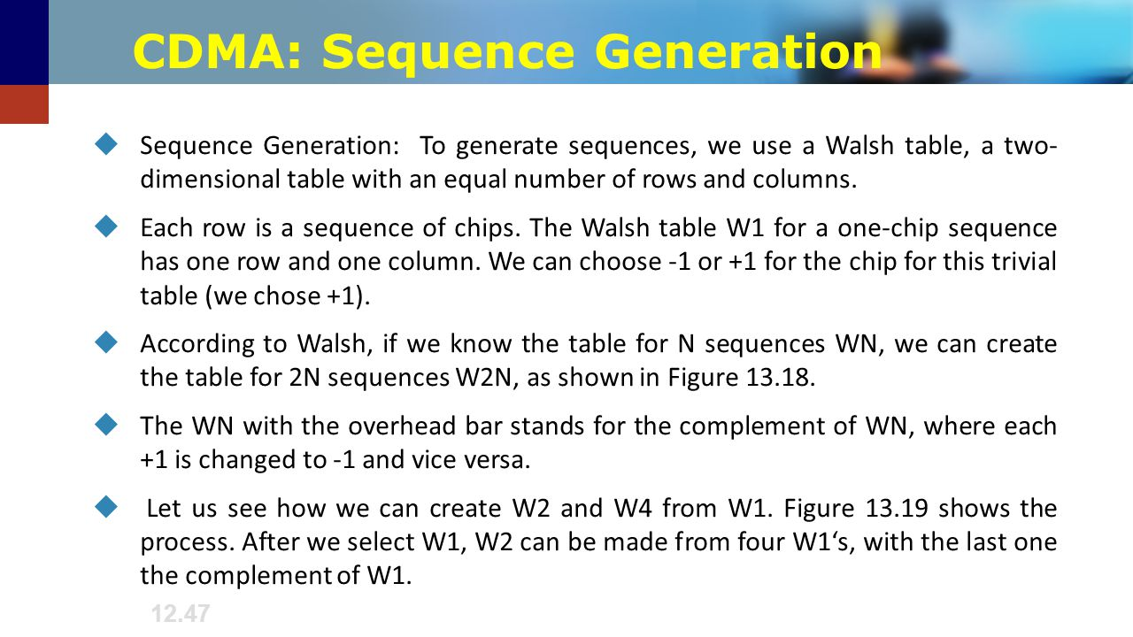 CDMA: Sequence Generation