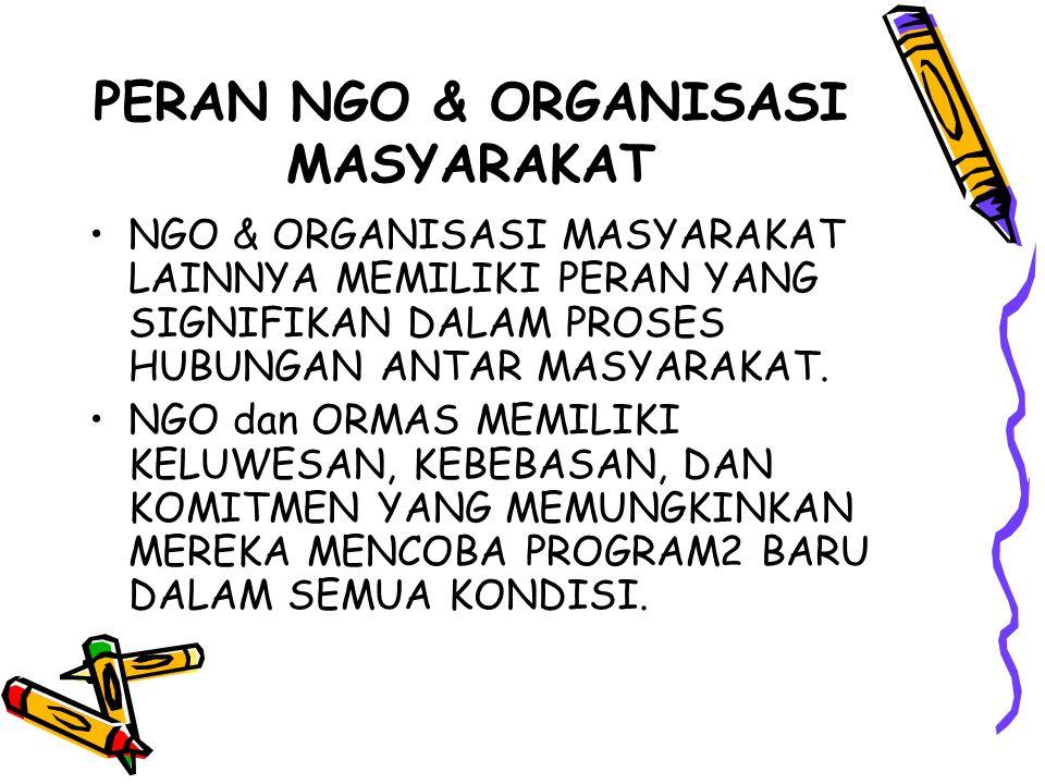 PERAN NGO & ORGANISASI MASYARAKAT