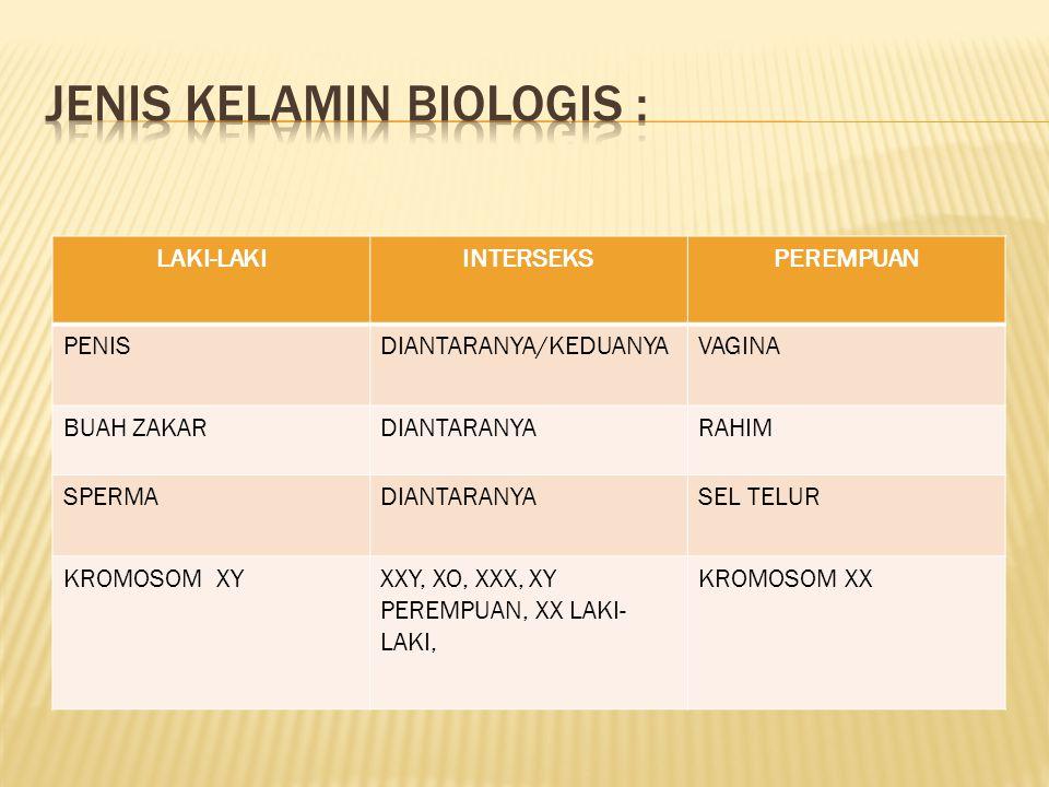JENIS KELAMIN BIOLOGIS :