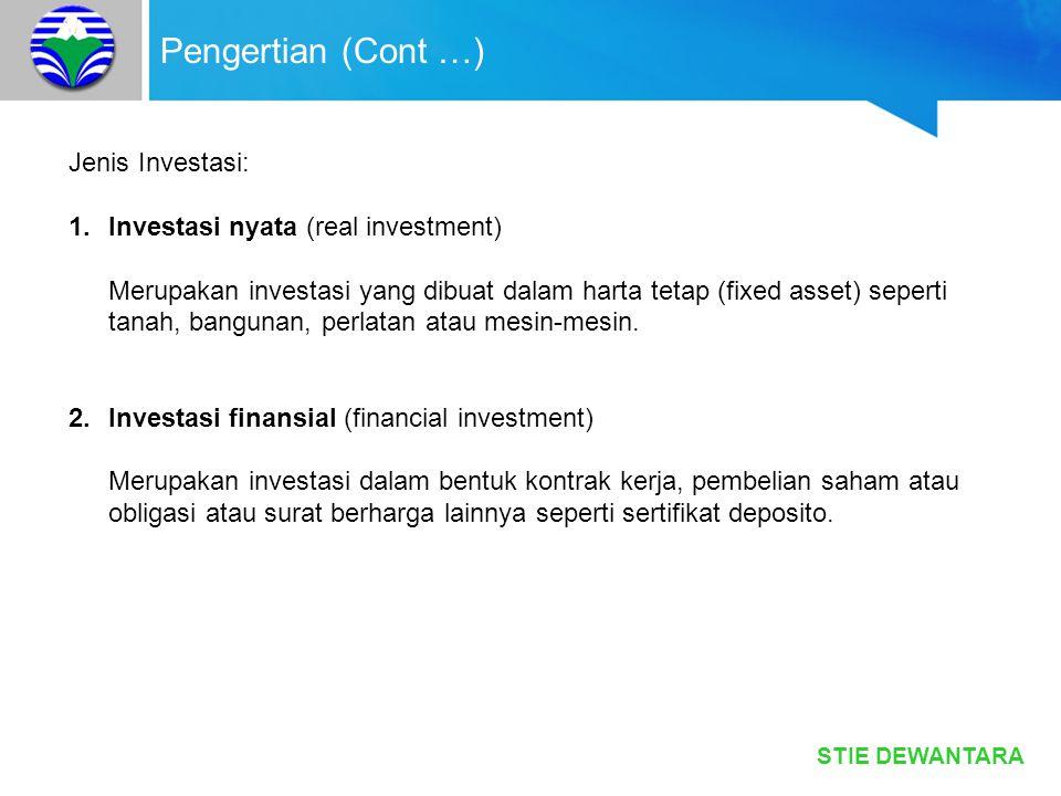 Pengertian (Cont …) Jenis Investasi: Investasi nyata (real investment)