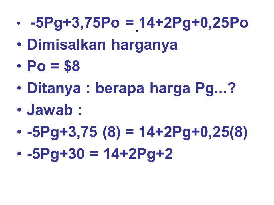 . Dimisalkan harganya Po = $8 Ditanya : berapa harga Pg... Jawab :