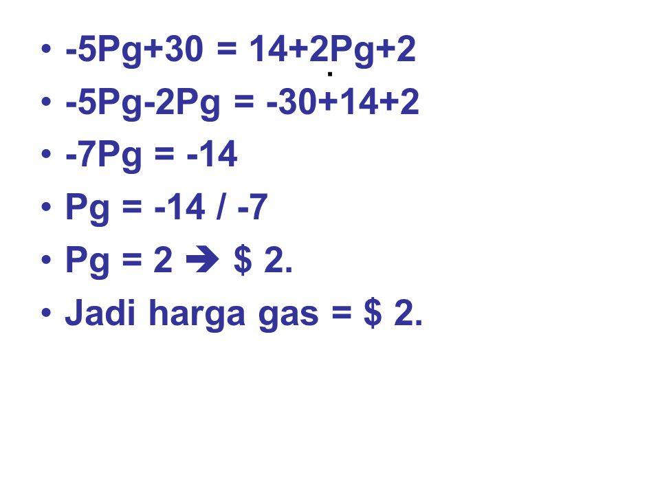 . -5Pg+30 = 14+2Pg+2 -5Pg-2Pg = -30+14+2 -7Pg = -14 Pg = -14 / -7