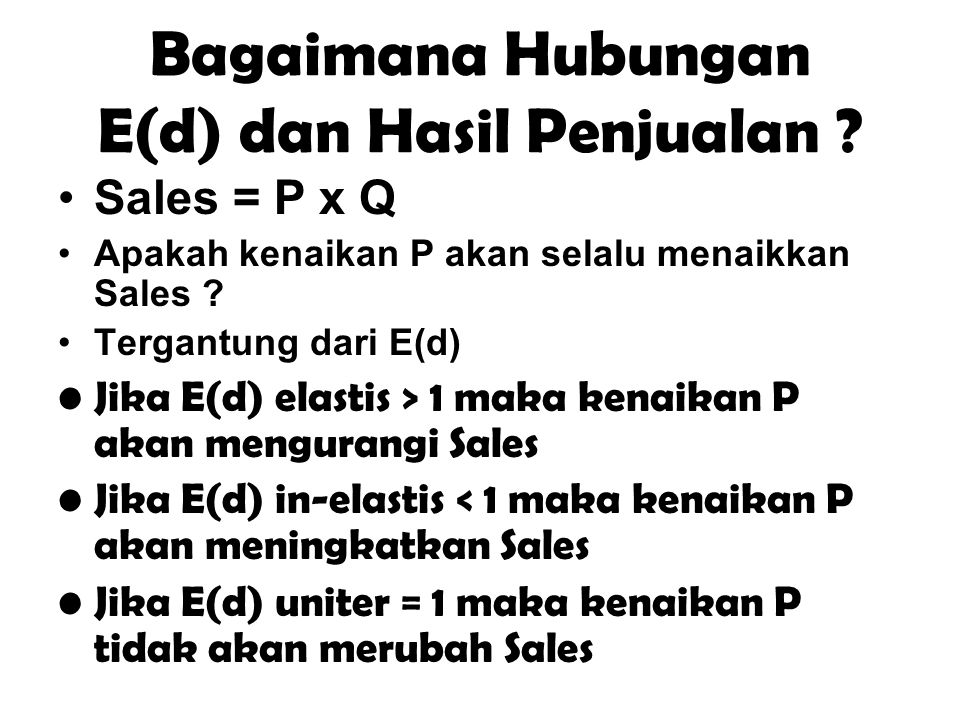 Bagaimana Hubungan E(d) dan Hasil Penjualan