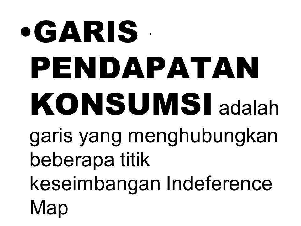 . GARIS PENDAPATAN KONSUMSI adalah garis yang menghubungkan beberapa titik keseimbangan Indeference Map.