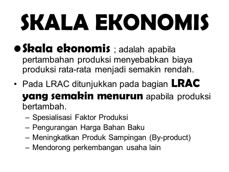 SKALA EKONOMIS Skala ekonomis ; adalah apabila pertambahan produksi menyebabkan biaya produksi rata-rata menjadi semakin rendah.