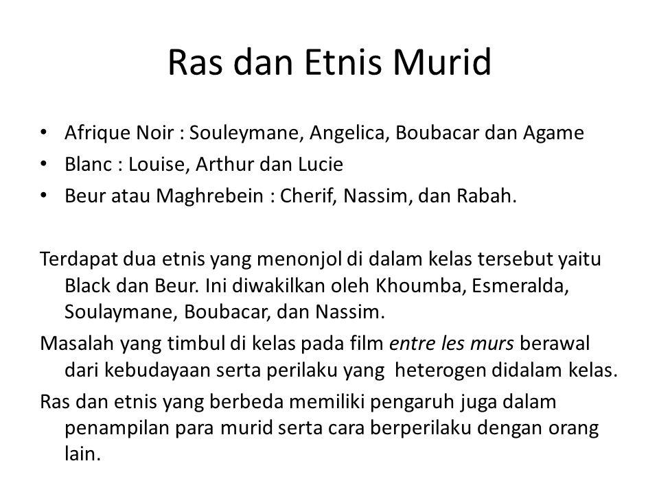 Ras dan Etnis Murid Afrique Noir : Souleymane, Angelica, Boubacar dan Agame. Blanc : Louise, Arthur dan Lucie.