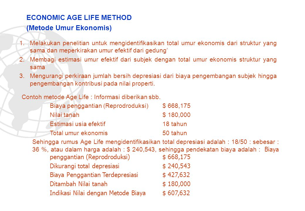 ECONOMIC AGE LIFE METHOD (Metode Umur Ekonomis)