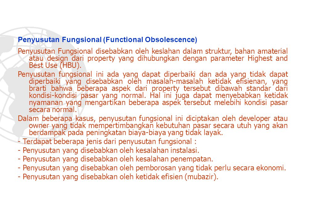 Penyusutan Fungsional (Functional Obsolescence)