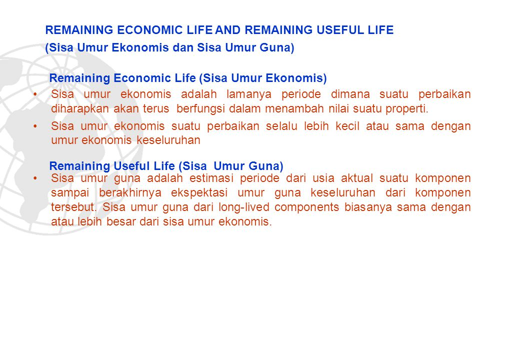 REMAINING ECONOMIC LIFE AND REMAINING USEFUL LIFE