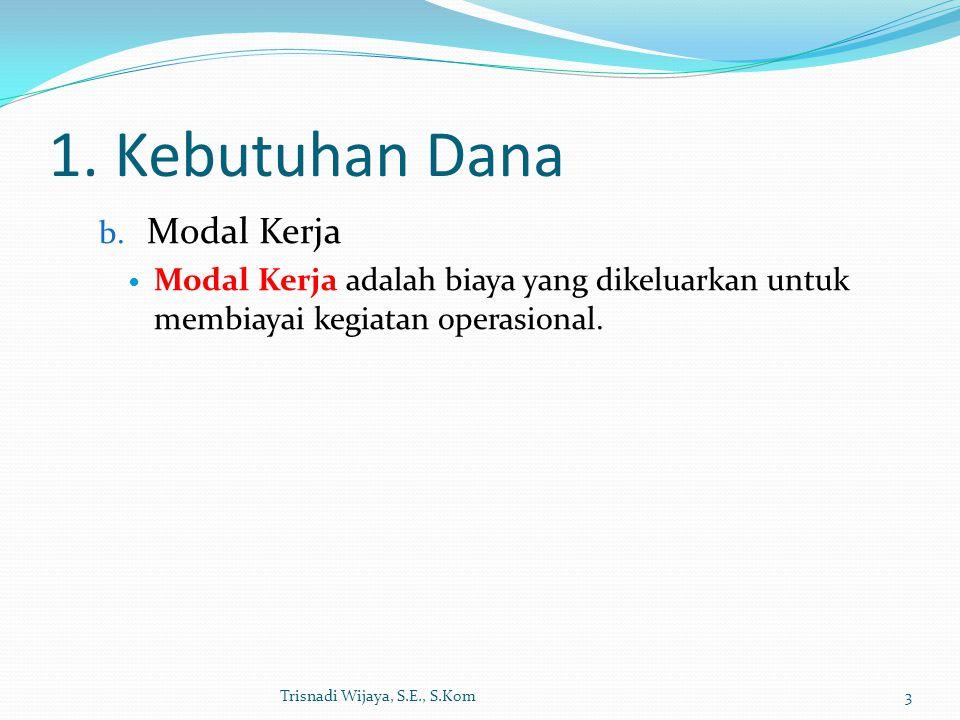 1. Kebutuhan Dana Modal Kerja