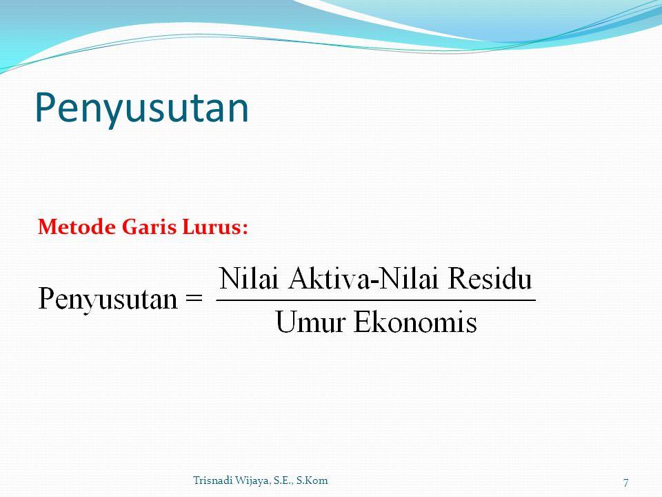 Penyusutan Metode Garis Lurus: Trisnadi Wijaya, S.E., S.Kom