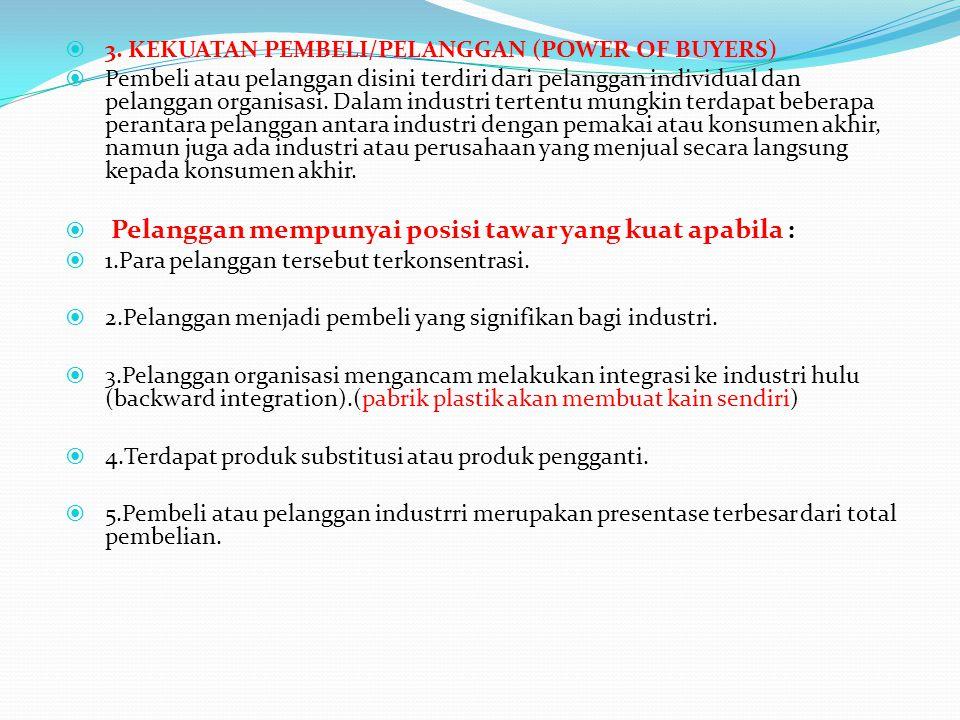 3. KEKUATAN PEMBELI/PELANGGAN (POWER OF BUYERS)