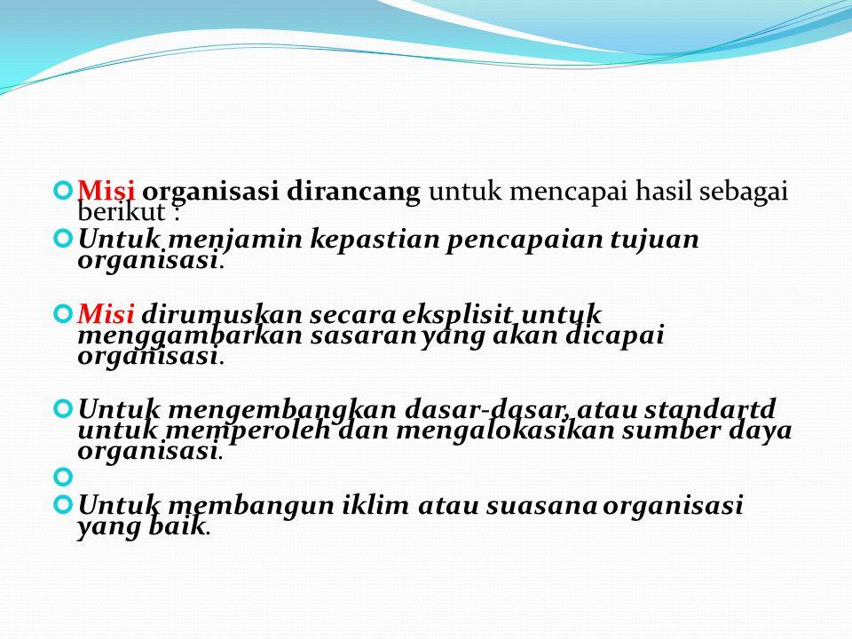 Misi organisasi dirancang untuk mencapai hasil sebagai berikut :