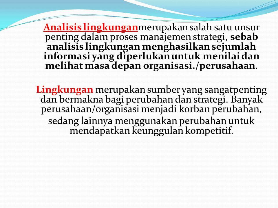 Analisis lingkunganmerupakan salah satu unsur penting dalam proses manajemen strategi, sebab analisis lingkungan menghasilkan sejumlah informasi yang diperlukan untuk menilai dan melihat masa depan organisasi./perusahaan.