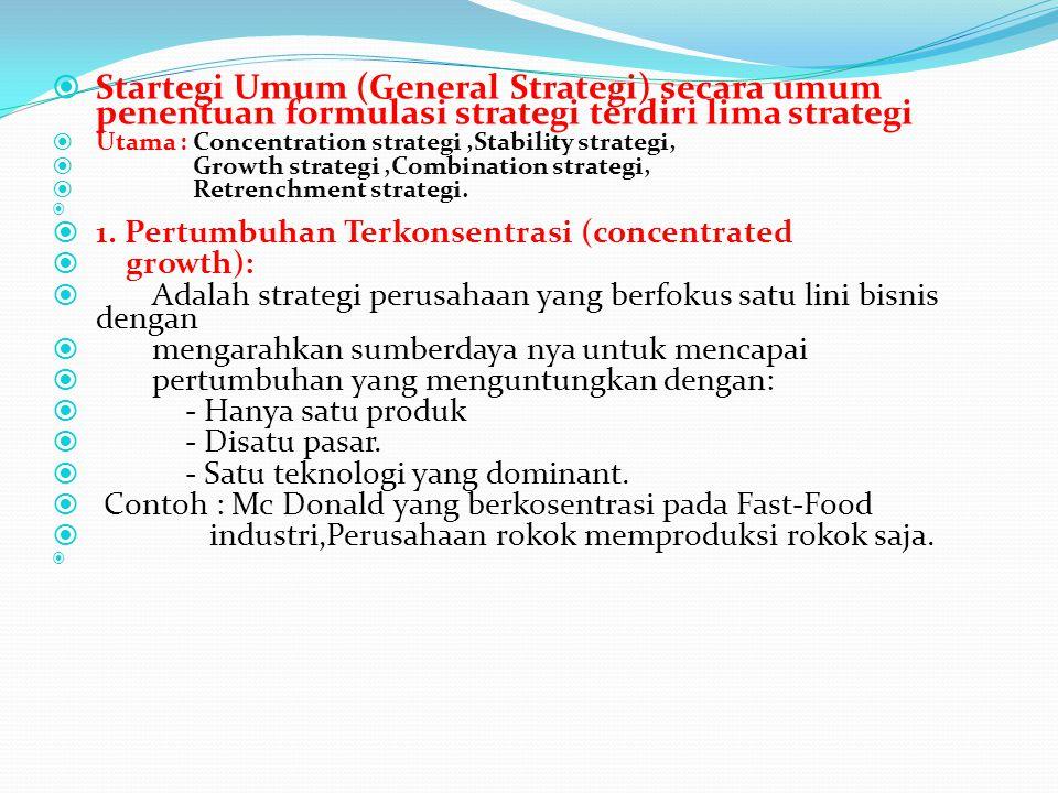 Startegi Umum (General Strategi) secara umum penentuan formulasi strategi terdiri lima strategi