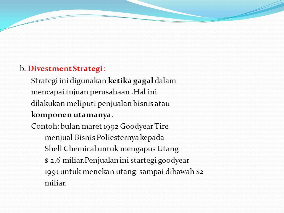 b. Divestment Strategi :