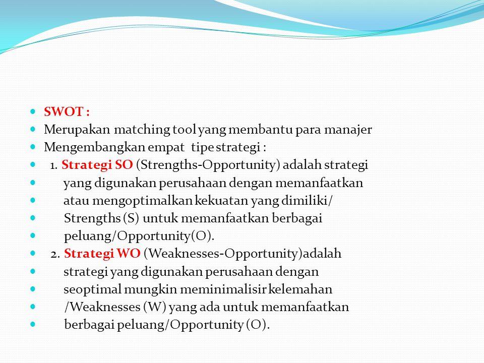 SWOT : Merupakan matching tool yang membantu para manajer. Mengembangkan empat tipe strategi :