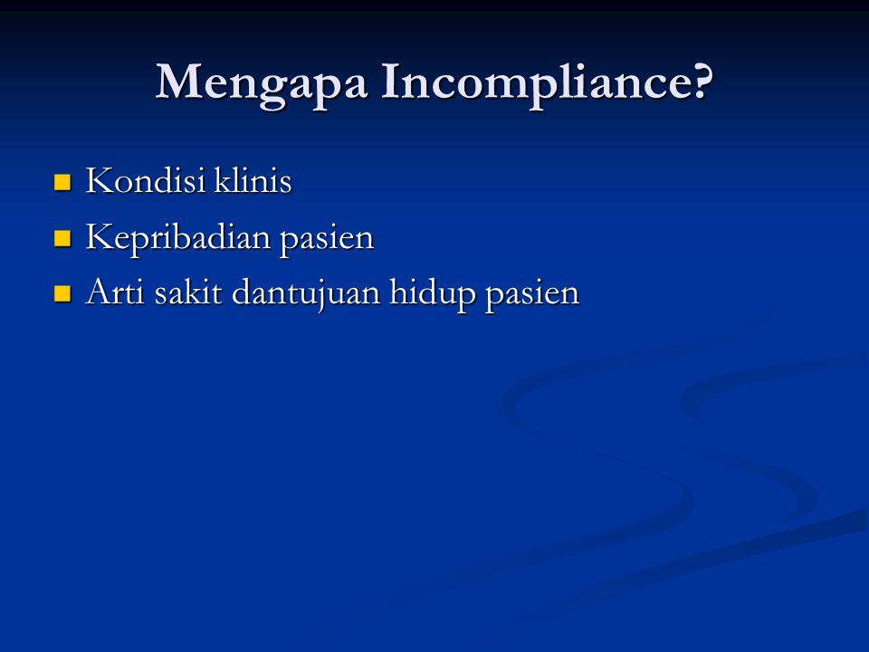Mengapa Incompliance Kondisi klinis Kepribadian pasien