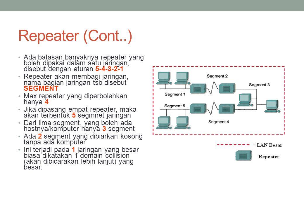 Repeater (Cont..) Ada batasan banyaknya repeater yang boleh dipakai dalam satu jaringan, disebut dengan aturan 5-4-3-2-1.