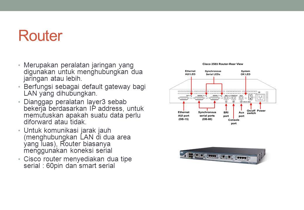 Router Merupakan peralatan jaringan yang digunakan untuk menghubungkan dua jaringan atau lebih.