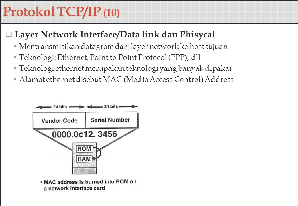 Protokol TCP/IP (10) Layer Network Interface/Data link dan Phisycal