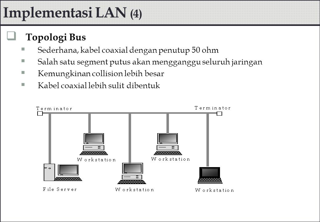 Implementasi LAN (4) Topologi Bus