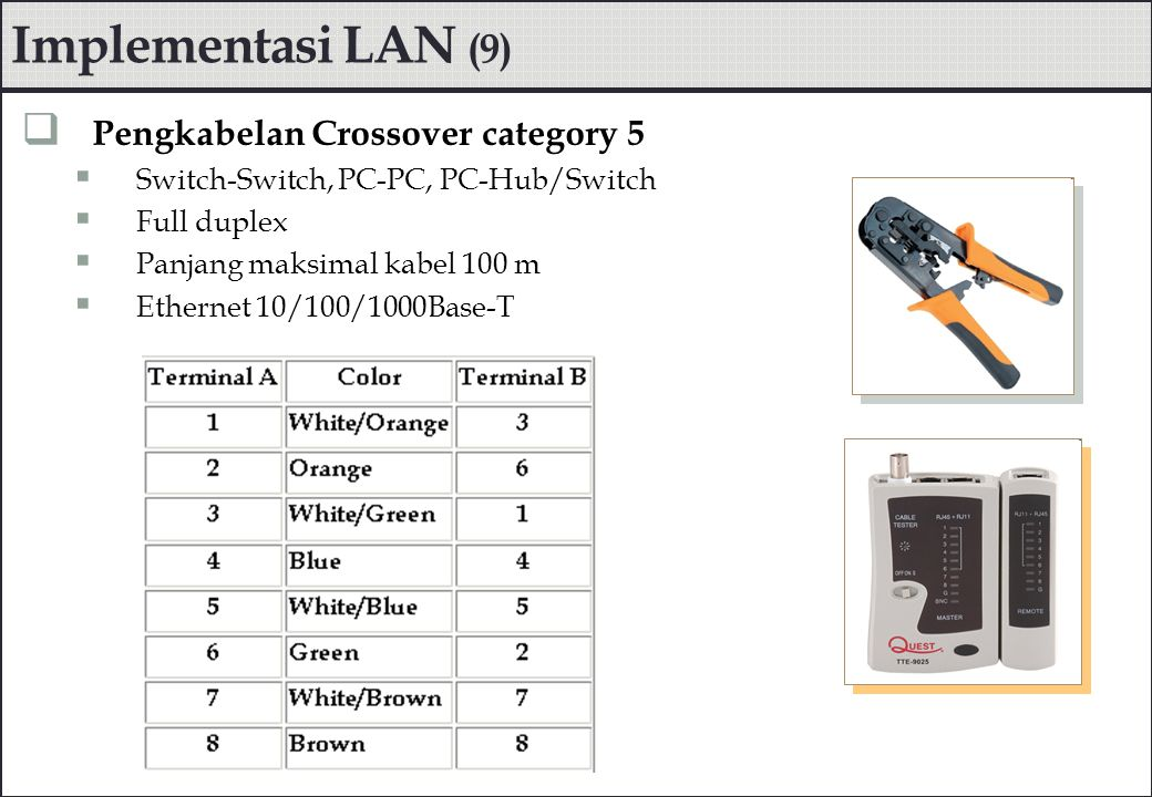 Implementasi LAN (9) Pengkabelan Crossover category 5